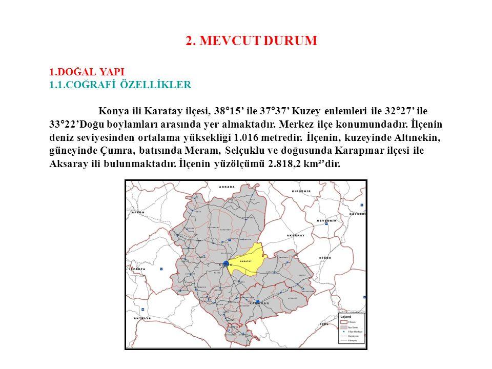 2. MEVCUT DURUM 1.DOĞAL YAPI 1.1.COĞRAFİ ÖZELLİKLER Konya ili Karatay ilçesi, 38°15' ile 37°37' Kuzey enlemleri ile 32°27' ile 33°22'Doğu boylamları a