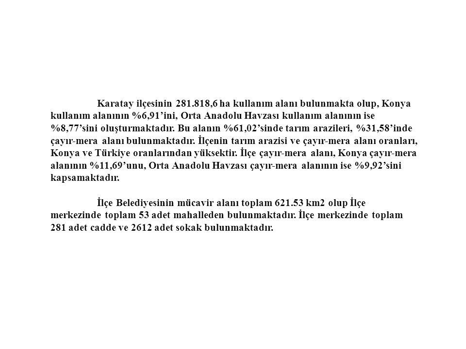 Karatay ilçesinin 281.818,6 ha kullanım alanı bulunmakta olup, Konya kullanım alanının %6,91'ini, Orta Anadolu Havzası kullanım alanının ise %8,77'sini oluşturmaktadır.