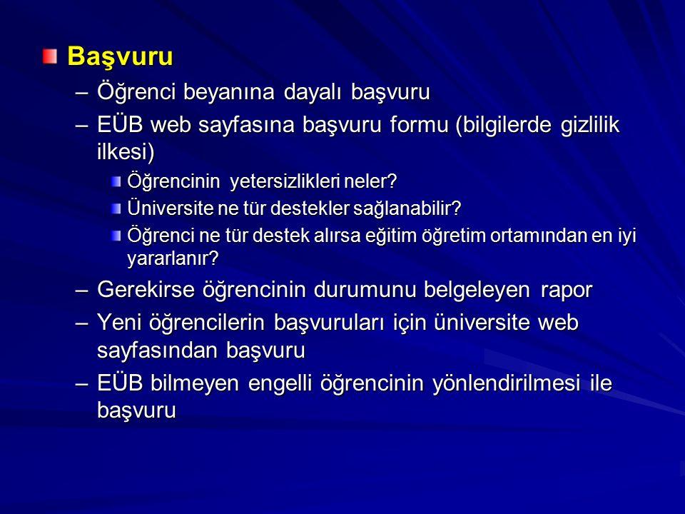 Başvuru –Öğrenci beyanına dayalı başvuru –EÜB web sayfasına başvuru formu (bilgilerde gizlilik ilkesi) Öğrencinin yetersizlikleri neler.