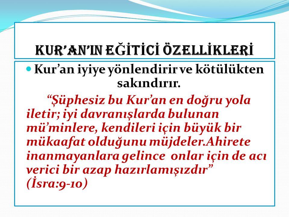 KUR'AN'IN ANA KONULARI Kur'an'ın başlıca konuları 1. İman (inanç esasları) 2. İbadet(salih amel) 3. Ahlak(güzel davranış) 4. Muamelat (sosyal ilişkile