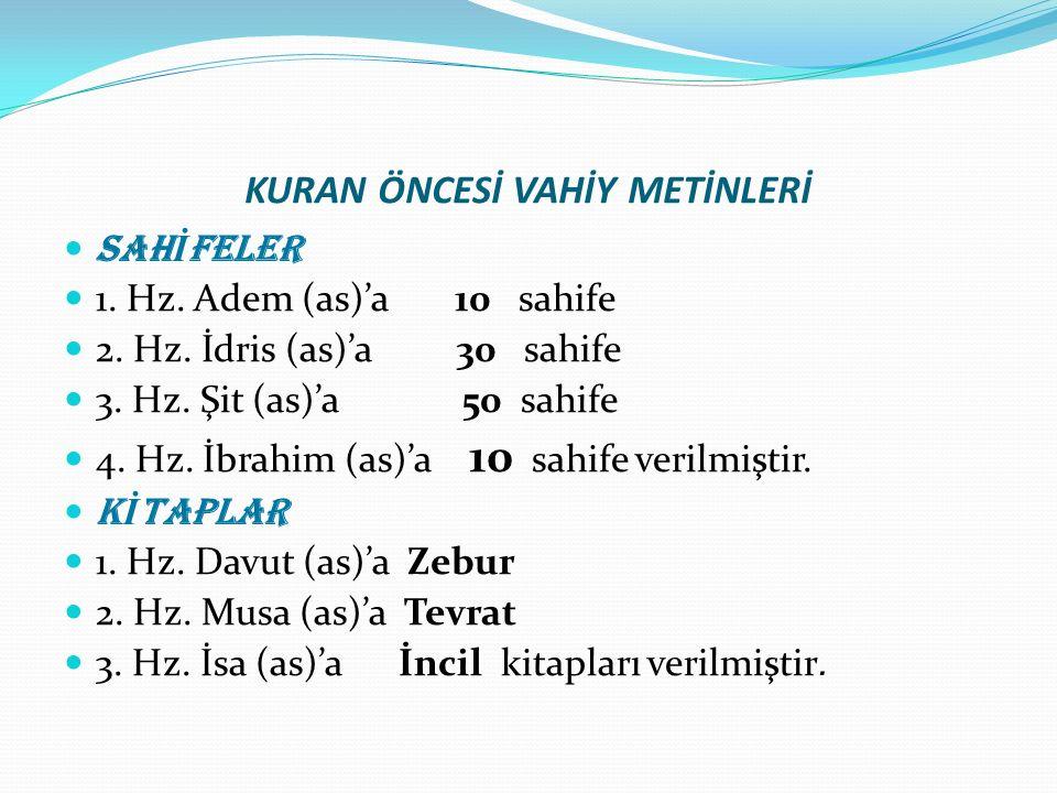 KURAN ÖNCESİ VAHİY METİNLERİ SAH İ FELER 1.Hz. Adem (as)'a 10 sahife 2.