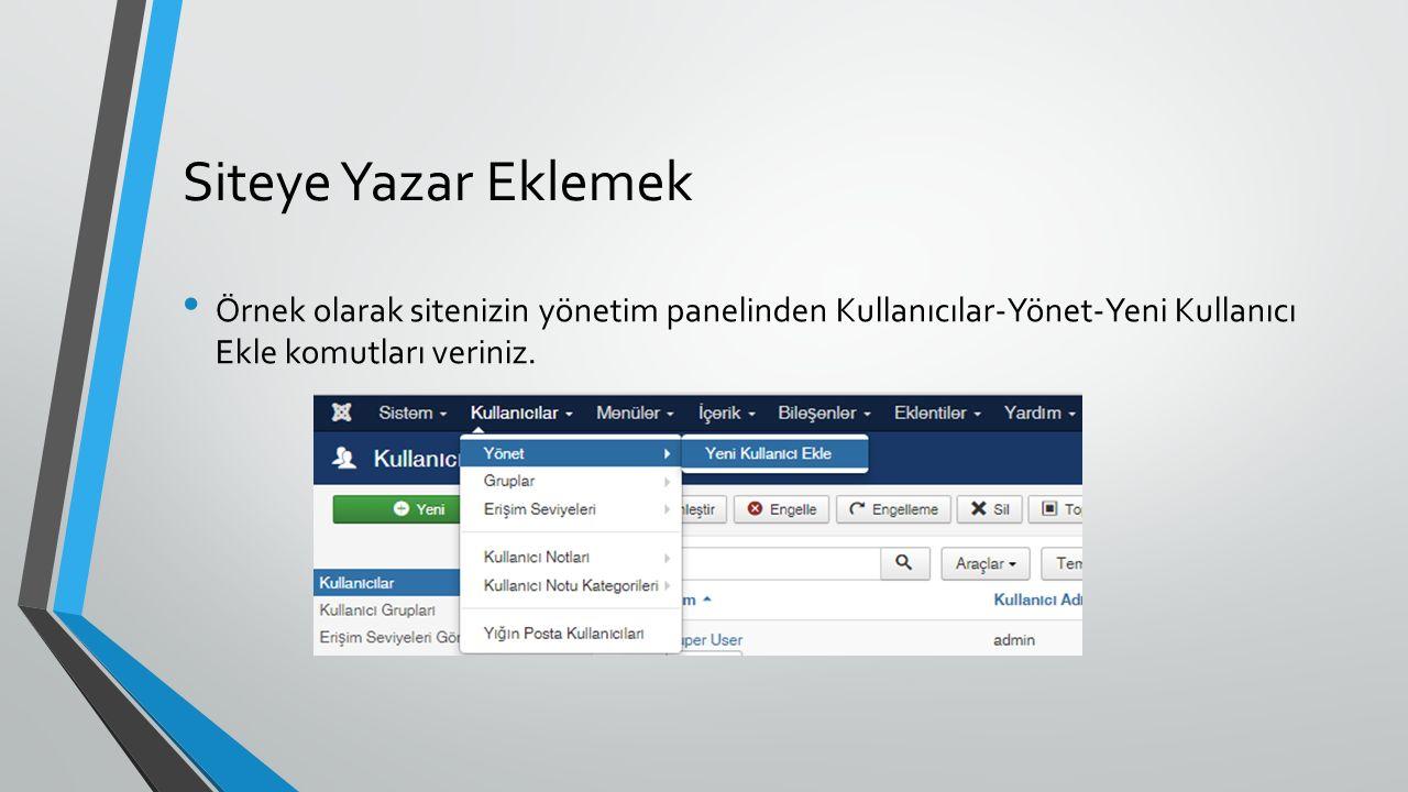 Siteye Yazar Eklemek Örnek olarak sitenizin yönetim panelinden Kullanıcılar-Yönet-Yeni Kullanıcı Ekle komutları veriniz.