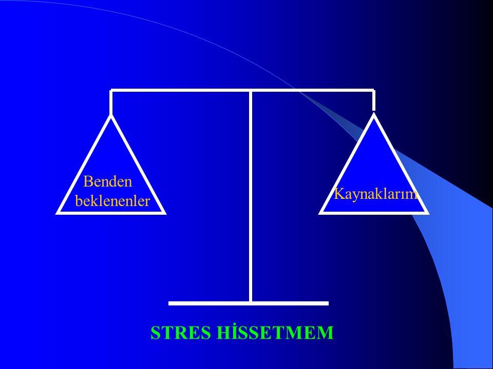 Benden beklenenler Kaynaklarım STRES HİSSETMEM