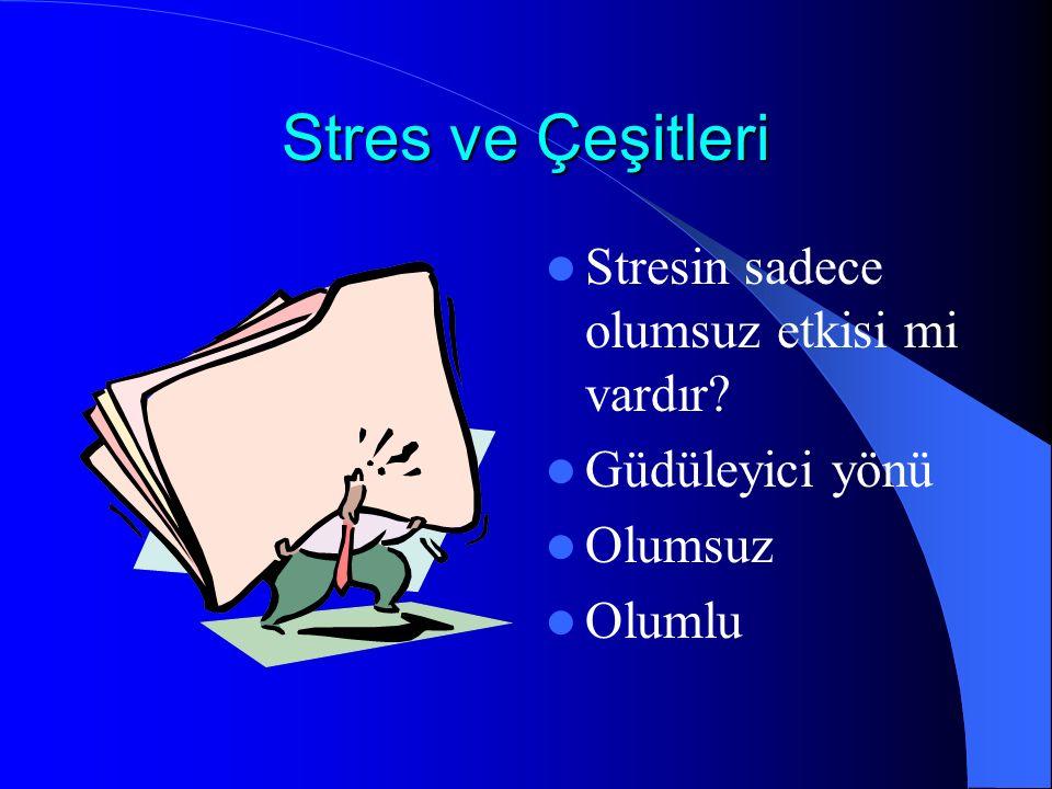 Stres ve Çeşitleri Stresin sadece olumsuz etkisi mi vardır? Güdüleyici yönü Olumsuz Olumlu