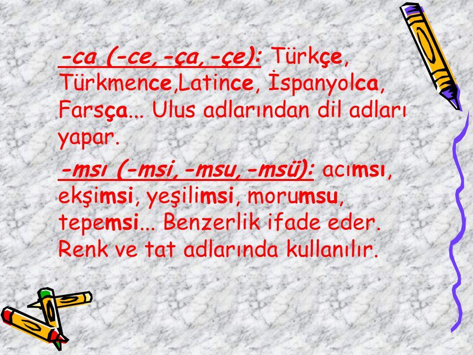 -ca (-ce,-ça,-çe): Türkçe, Türkmence,Latince, İspanyolca, Farsça... Ulus adlarından dil adları yapar. -msı (-msi,-msu,-msü): acımsı, ekşimsi, yeşilims