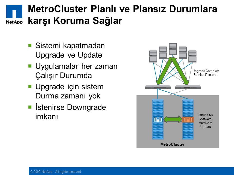 © 2009 NetApp. All rights reserved. MetroCluster Planlı ve Plansız Durumlara karşı Koruma Sağlar  Sistemi kapatmadan Upgrade ve Update  Uygulamalar