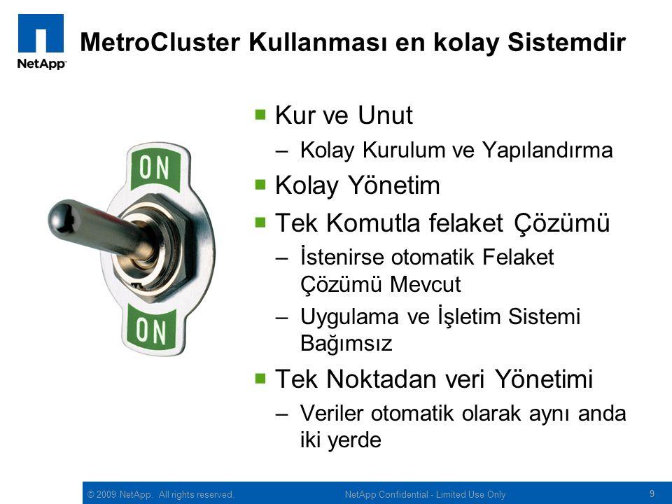 © 2009 NetApp. All rights reserved. MetroCluster Kullanması en kolay Sistemdir  Kur ve Unut –Kolay Kurulum ve Yapılandırma  Kolay Yönetim  Tek Komu