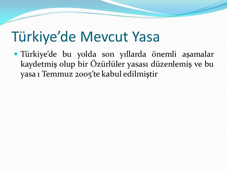 Türkiye'de Mevcut Yasa Türkiye'de bu yolda son yıllarda önemli aşamalar kaydetmiş olup bir Özürlüler yasası düzenlemiş ve bu yasa 1 Temmuz 2005'te kabul edilmiştir