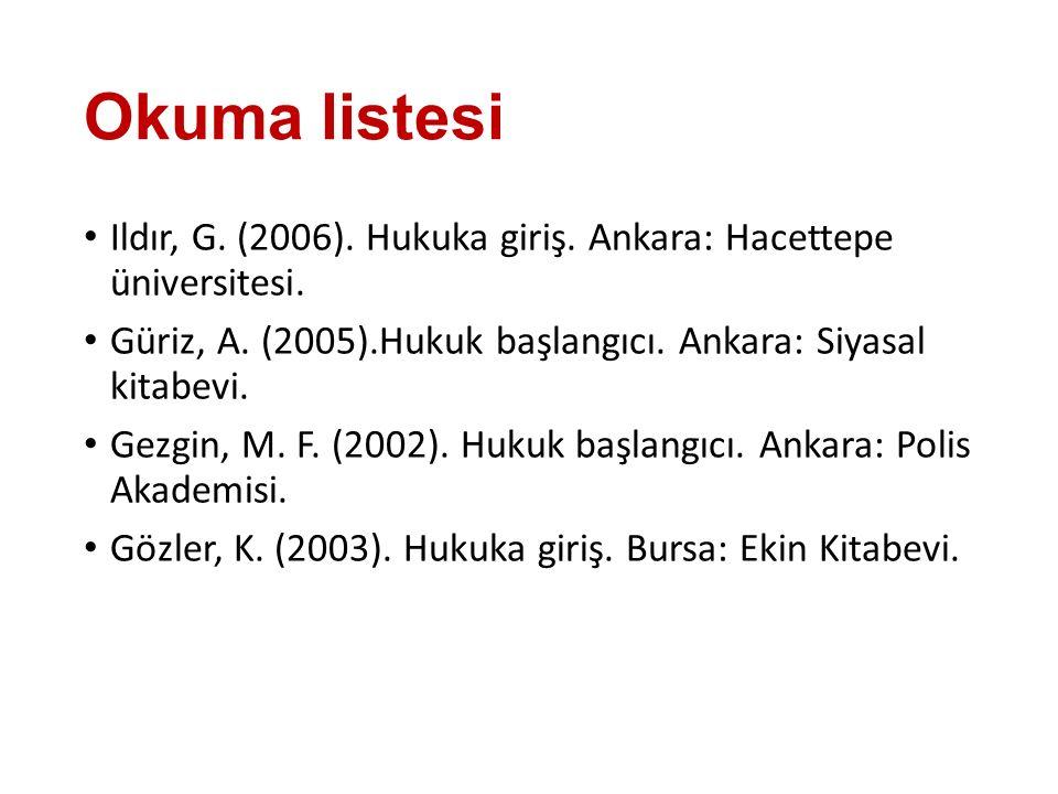 Okuma listesi Ildır, G. (2006). Hukuka giriş. Ankara: Hacettepe üniversitesi. Güriz, A. (2005).Hukuk başlangıcı. Ankara: Siyasal kitabevi. Gezgin, M.