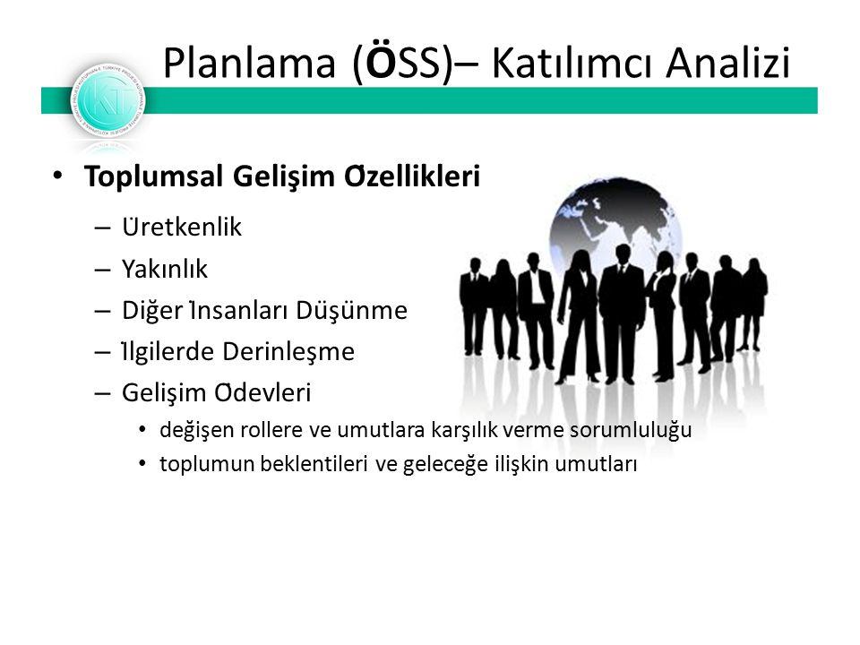 Planlama (ÖSS)– Katılımcı Analizi Toplumsal Gelişim Özellikleri – Üretkenlik – Yakınlık – Diğer İnsanları Düşünme – İlgilerde Derinleşme – Gelişim Ödevleri değişen rollere ve umutlara karşılık verme sorumluluğu toplumun beklentileri ve geleceğe ilişkin umutları