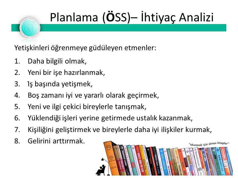 Planlama (ÖSS)– İhtiyaç Analizi Yetişkinleri öğrenmeye güdüleyen etmenler: 1.Daha bilgili olmak, 2.Yeni bir işe hazırlanmak, 3.İş başında yet