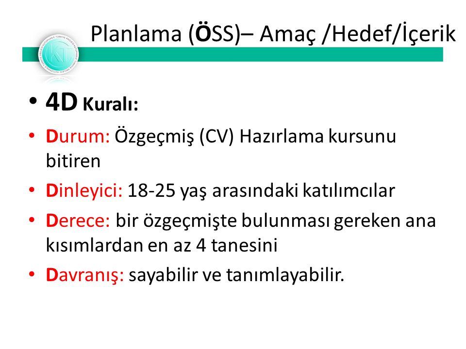 Planlama (ÖSS)– Amaç /Hedef/İçerik 4D Kuralı: Durum: Özgeçmiş (CV) Hazırlama kursunu bitiren Dinleyici: 18-25 yaş arasındaki katılımcılar Derece: bir