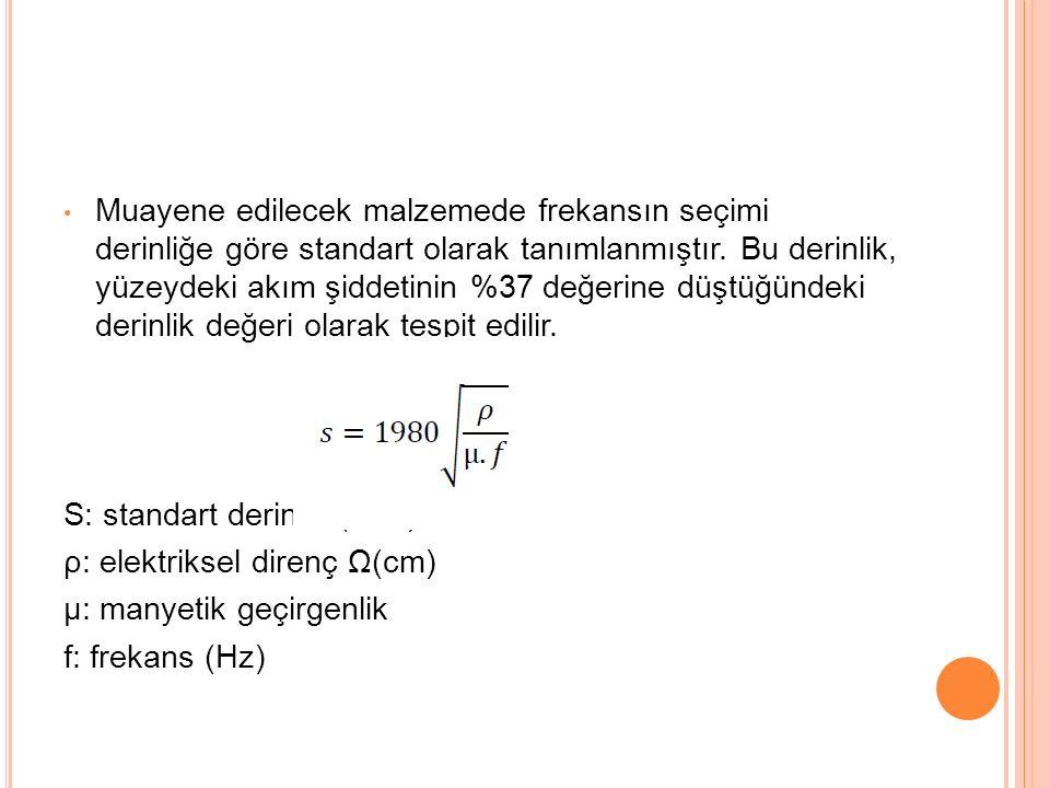 Muayene edilecek malzemede frekansın seçimi derinliğe göre standart olarak tanımlanmıştır.