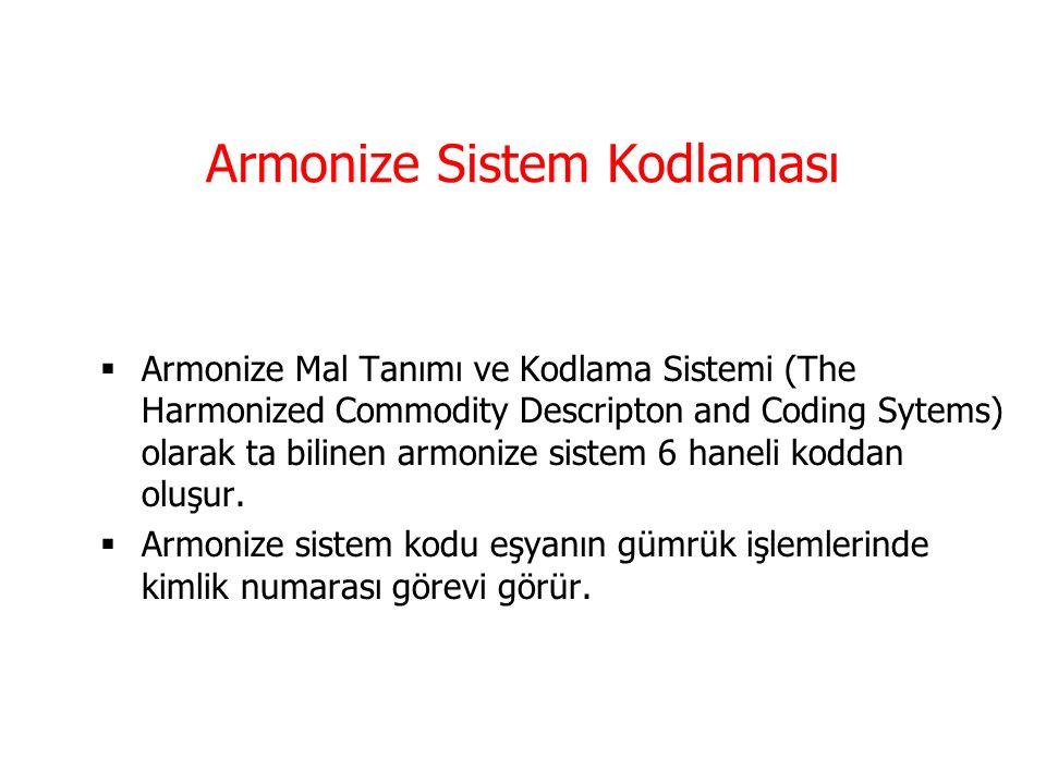 Armonize Sistem Nomankaltürü  Her ülkenin tarife cetvelinin esasını Armonize Sistem Nomenklatürü (AS) oluşturmaktadır.