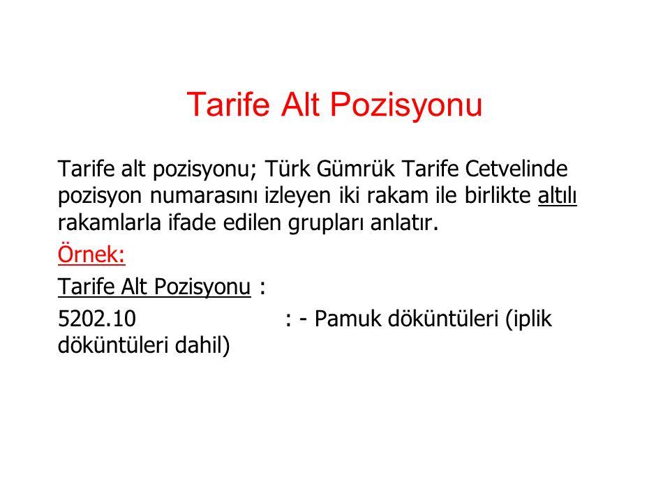 Tarife pozisyonu Tarife pozisyonu; Türk Gümrük Tarife Cetvelinde fasıla ilişkin ilk iki rakamdan sonra gelen iki rakamla birlikte dörtlü rakamlarla ifade edilen grupları ifade eder.