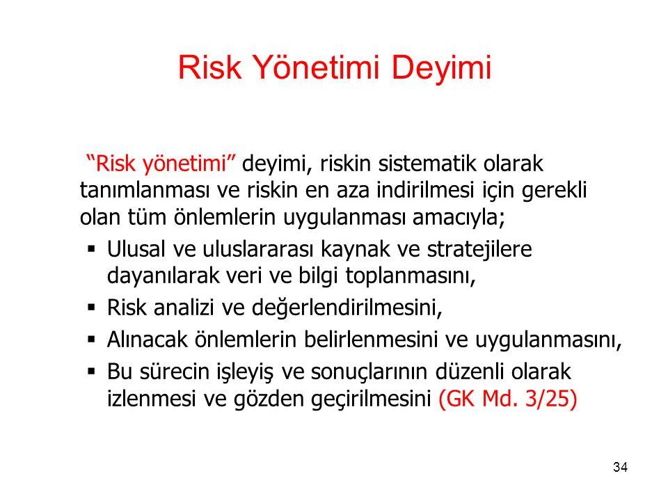 33 Risk Deyimi Risk deyimi, Türkiye Gümrük Bölgesi ve diğer ülkeler arasında taşınan eşyanın giriş, çıkış, transit, nakil ve nihai kullanımına ve serbest dolaşımda bulunmayan eşyaya ilişkin olarak,  Ulusal ya da uluslararası düzeyde alınmış önlemlerin doğru bir şekilde uygulanmasını engelleyen,  Ülkenin mali çıkarlarını tehlikeye düşüren,  Ülkenin güvenlik ve emniyetine, kamu güvenliği ve kamu sağlığına, çevreye veya tüketicilere yönelik tehdit oluşturan, Bir olayın ortaya çıkma ihtimalini ifade eder.