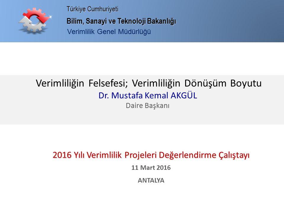 Bilim, Sanayi ve Teknoloji Bakanlığı Türkiye Cumhuriyeti Verimlilik Genel Müdürlüğü Verimliliğin Felsefesi; Verimliliğin Dönüşüm Boyutu Dr. Mustafa Ke