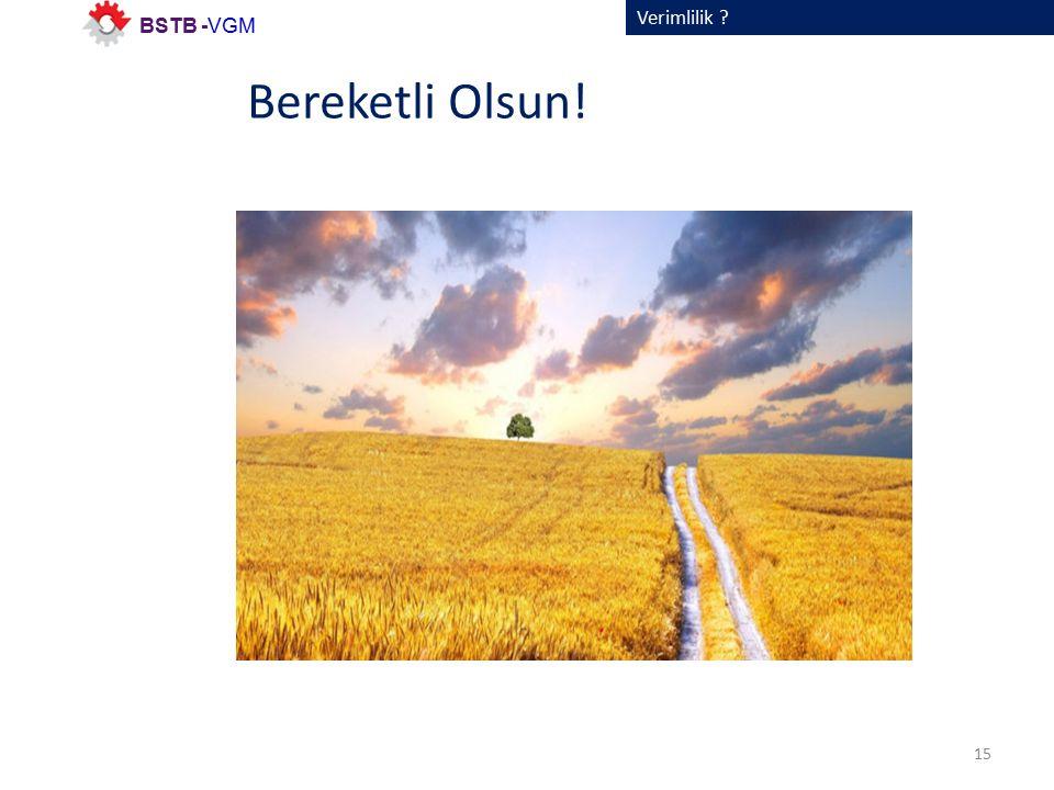 Verimlilik 15 BSTB -VGM Bereketli Olsun!