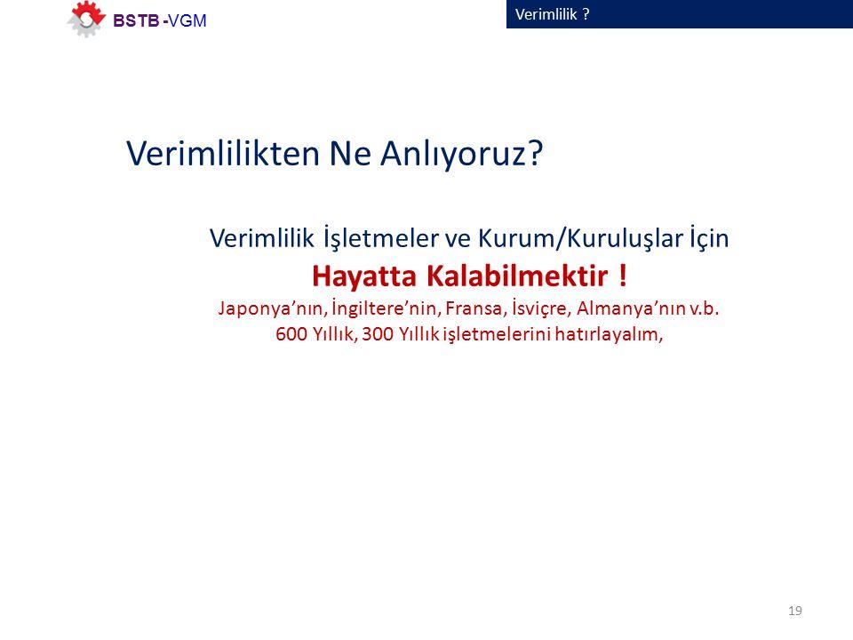 Verimlilik . 19 BSTB -VGM Verimlilikten Ne Anlıyoruz.