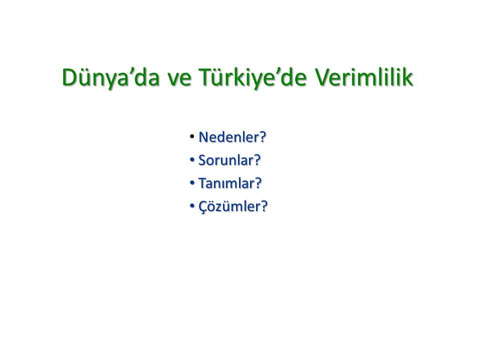 Dünya'da ve Türkiye'de Verimlilik Nedenler? Sorunlar? Sorunlar? Tanımlar? Tanımlar? Çözümler? Çözümler?