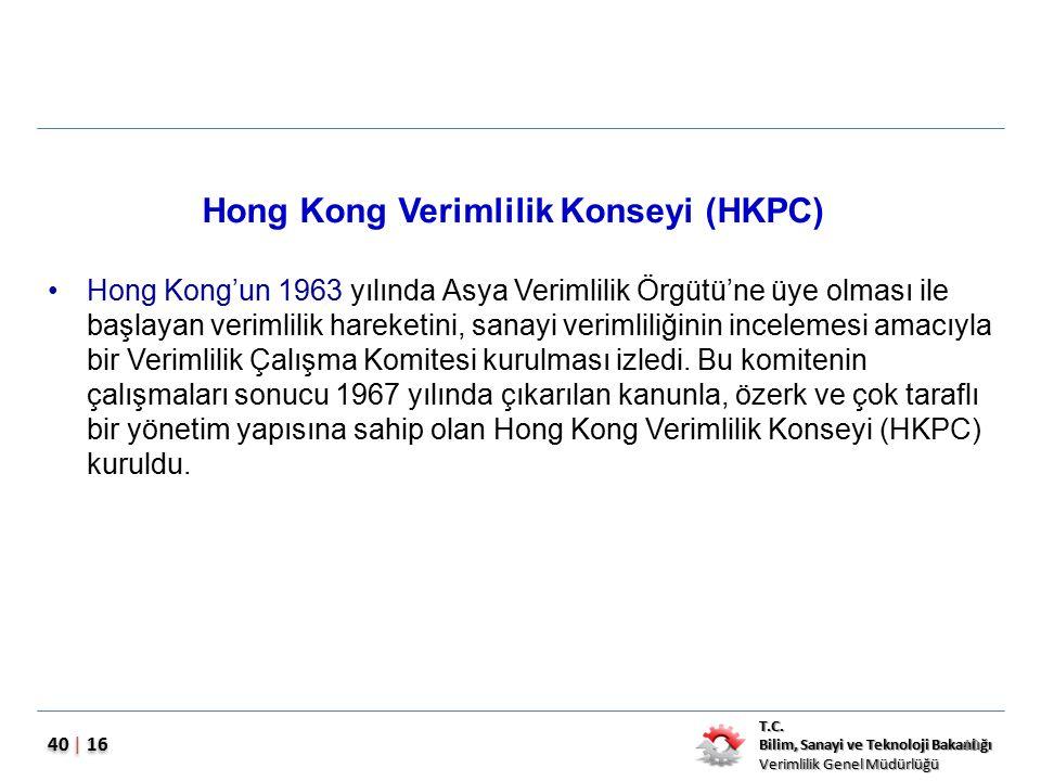 T.C. Bilim, Sanayi ve Teknoloji Bakanlığı Verimlilik Genel Müdürlüğü 40 | 16 Hong Kong Verimlilik Konseyi (HKPC) Hong Kong'un 1963 yılında Asya Veriml