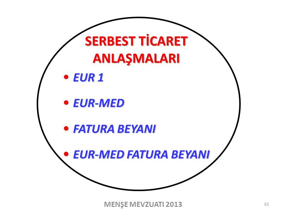 EUR 1 EUR-MED EUR-MED FATURA BEYANI FATURA BEYANI EUR-MED FATURA BEYANI EUR-MED FATURA BEYANI MENŞE MEVZUATI 2013 SERBEST TİCARET ANLAŞMALARI 61