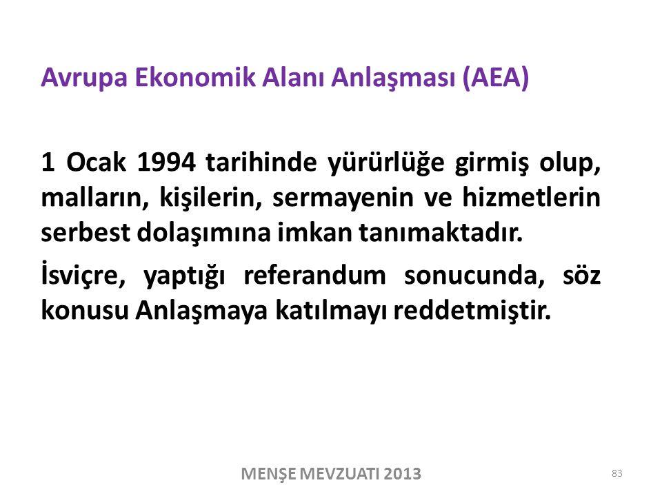 Avrupa Ekonomik Alanı Anlaşması (AEA) 1 Ocak 1994 tarihinde yürürlüğe girmiş olup, malların, kişilerin, sermayenin ve hizmetlerin serbest dolaşımına imkan tanımaktadır.