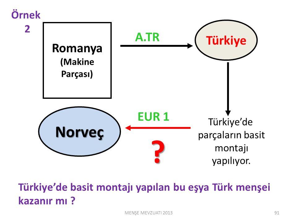 Romanya (Makine Parçası) Türkiye Türkiye'de parçaların basit montajı yapılıyor.