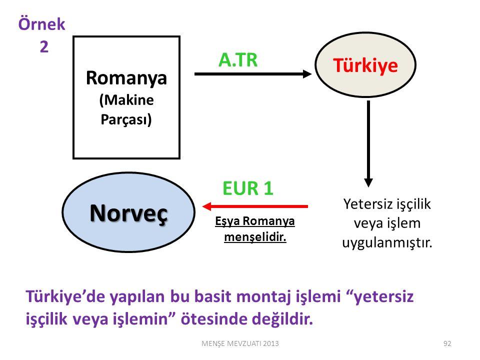 Romanya (Makine Parçası) Türkiye Norveç A.TR EUR 1 Türkiye'de yapılan bu basit montaj işlemi yetersiz işçilik veya işlemin ötesinde değildir.