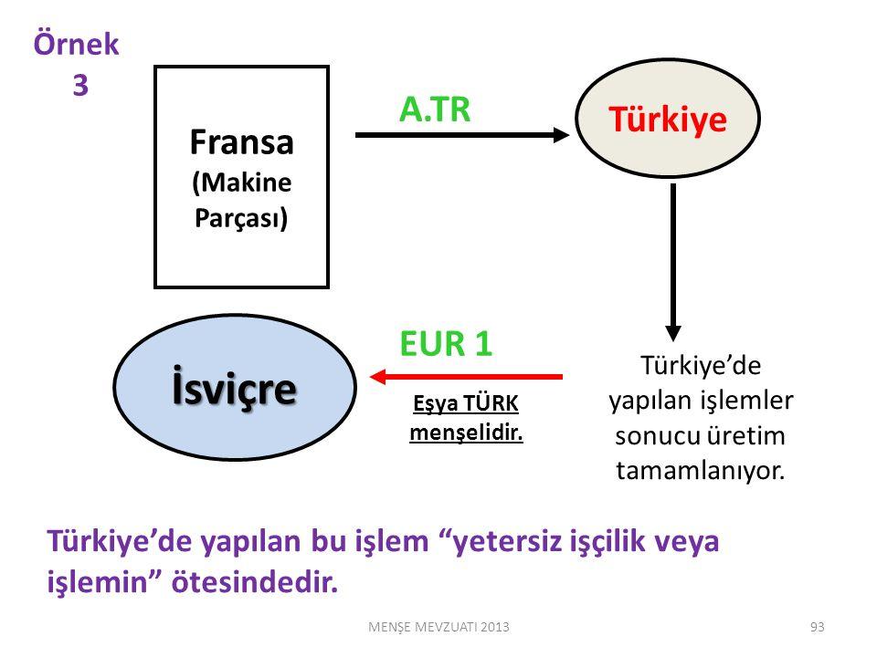 Fransa (Makine Parçası) Türkiye İsviçre A.TR EUR 1 Türkiye'de yapılan bu işlem yetersiz işçilik veya işlemin ötesindedir.