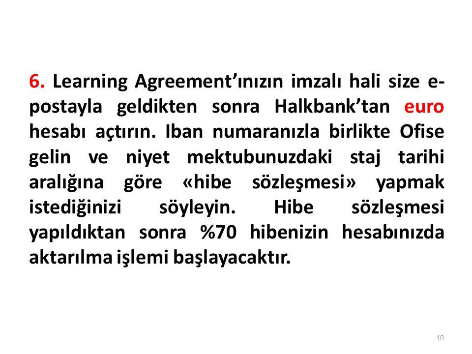 6. Learning Agreement'ınızın imzalı hali size e- postayla geldikten sonra Halkbank'tan euro hesabı açtırın. Iban numaranızla birlikte Ofise gelin ve n