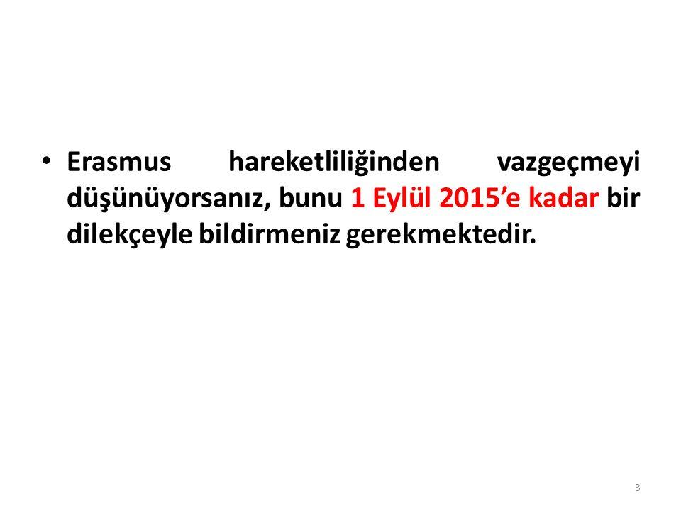 Erasmus hareketliliğinden vazgeçmeyi düşünüyorsanız, bunu 1 Eylül 2015'e kadar bir dilekçeyle bildirmeniz gerekmektedir.