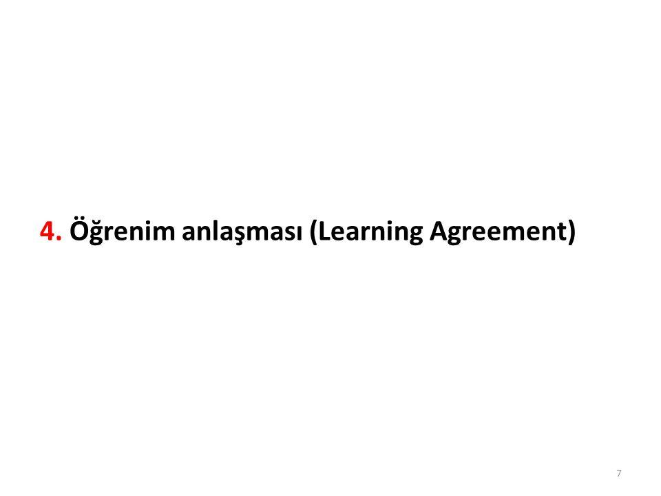 4. Öğrenim anlaşması (Learning Agreement) 7