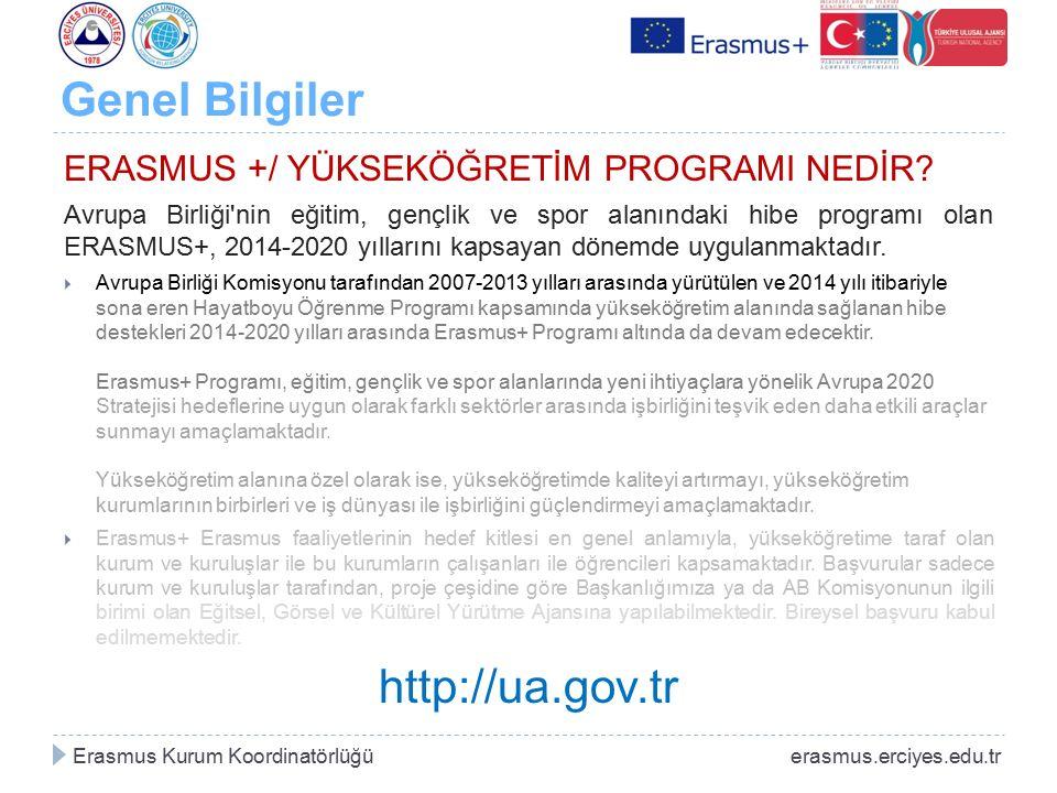 Genel Bilgiler ERASMUS +/ YÜKSEKÖĞRETİM PROGRAMI NEDİR? Avrupa Birliği'nin eğitim, gençlik ve spor alanındaki hibe programı olan ERASMUS+, 2014-2020 y