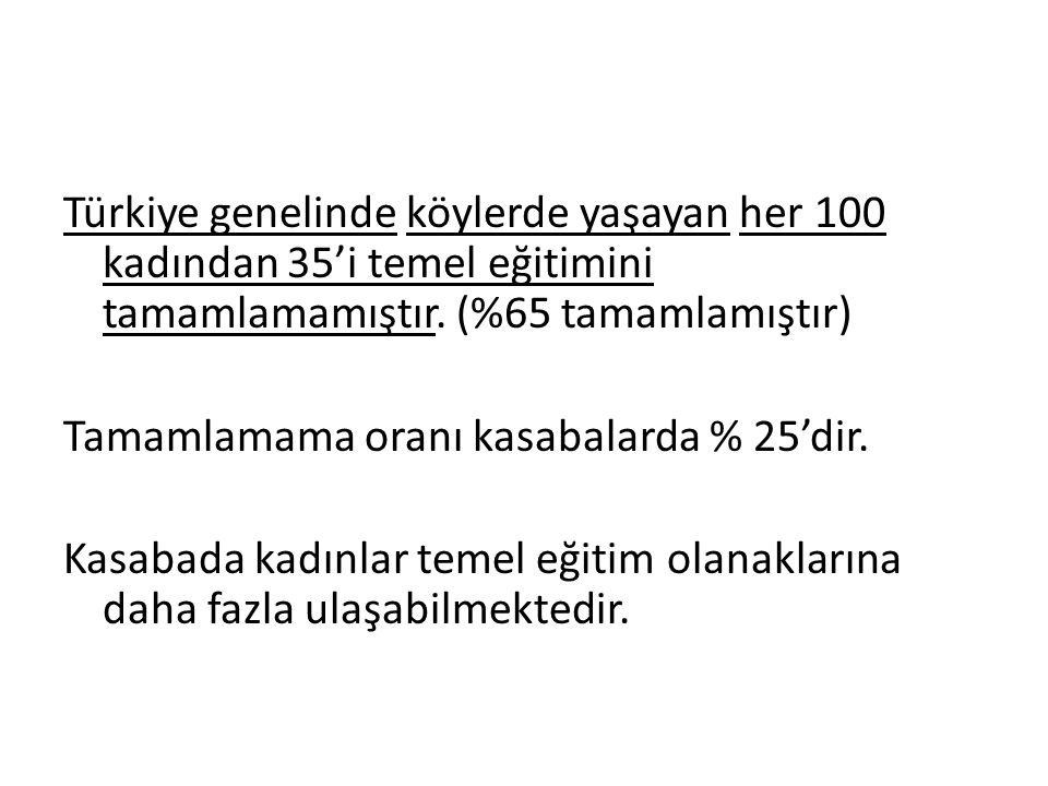Türkiye genelinde köylerde yaşayan her 100 kadından 35'i temel eğitimini tamamlamamıştır. (%65 tamamlamıştır) Tamamlamama oranı kasabalarda % 25'dir.