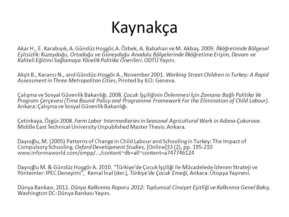 Kaynakça Akar H., E. Karabıyık, A. Gündüz Hoşgör, A. Özbek, A. Babahan ve M. Akbaş. 2009. İlköğretimde Bölgesel Eşitsizlik: Kuzeydoğu, Ortadoğu ve Gün