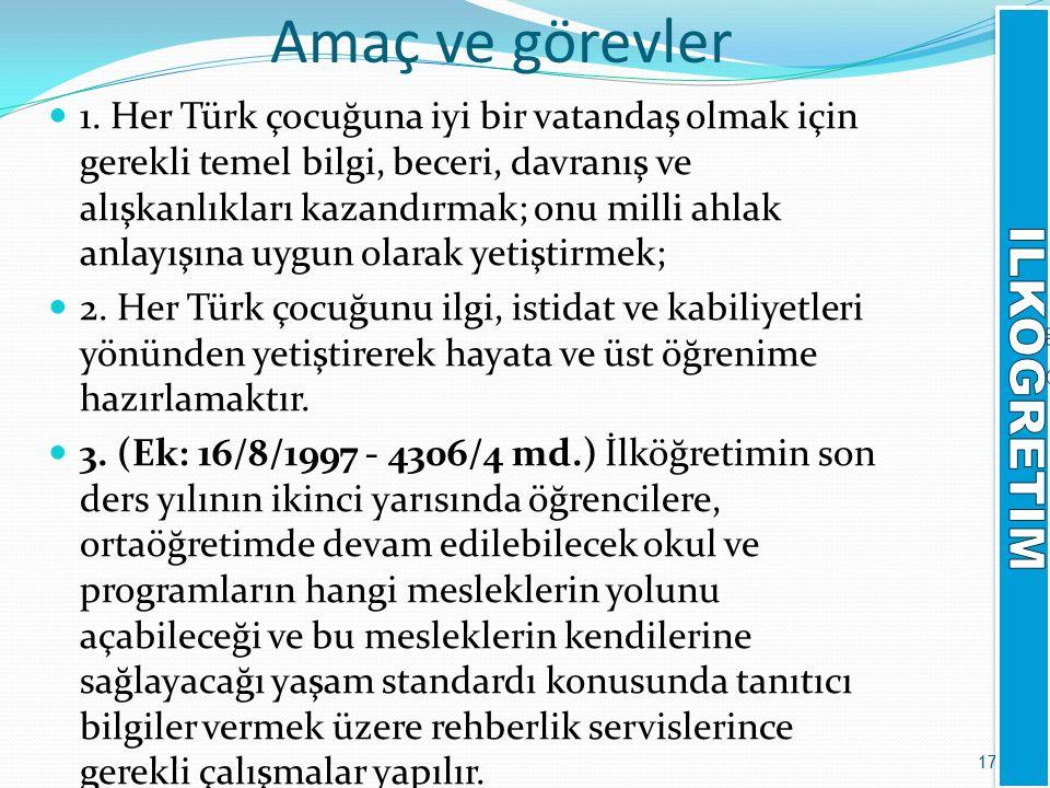 Amaç ve görevler 1. Her Türk çocuğuna iyi bir vatandaş olmak için gerekli temel bilgi, beceri, davranış ve alışkanlıkları kazandırmak; onu milli ahlak