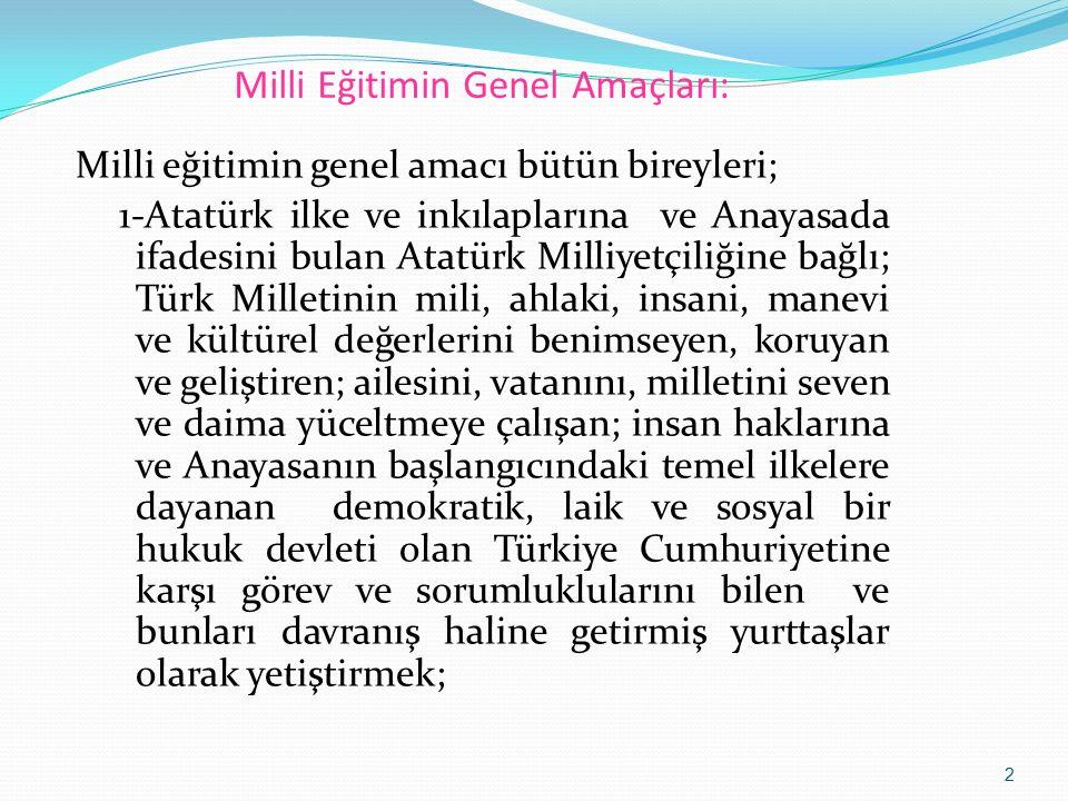 Milli Eğitimin Genel Amaçları: Milli eğitimin genel amacı bütün bireyleri; 1-Atatürk ilke ve inkılaplarına ve Anayasada ifadesini bulan Atatürk Milliy