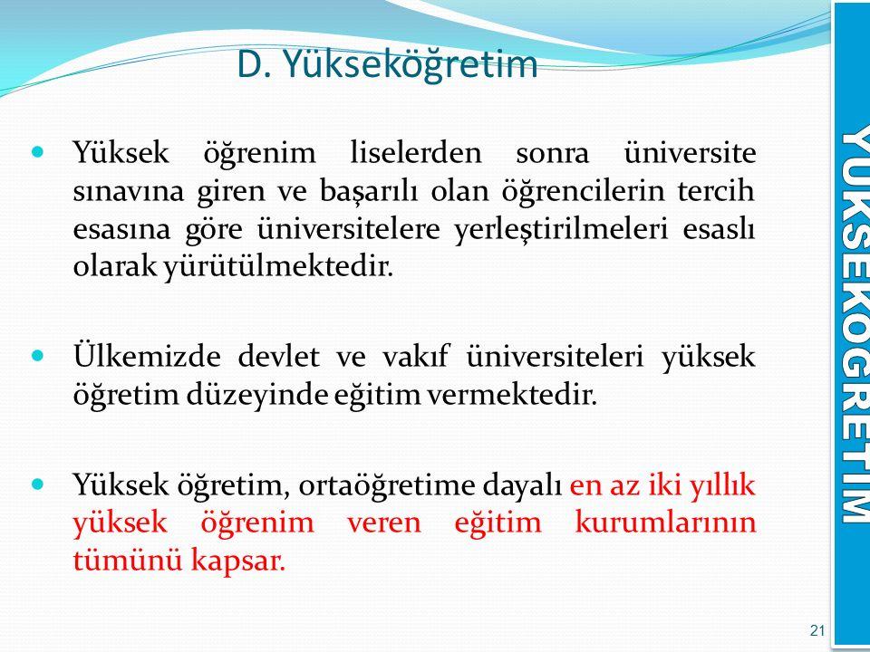 D. Yükseköğretim Yüksek öğrenim liselerden sonra üniversite sınavına giren ve başarılı olan öğrencilerin tercih esasına göre üniversitelere yerleştiri