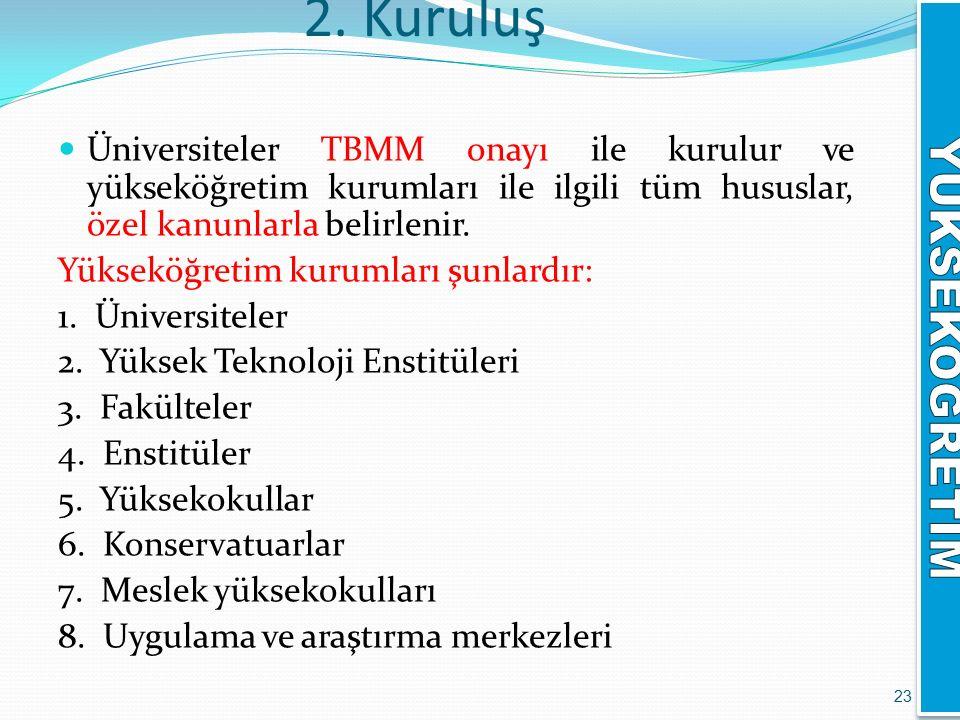 2. Kuruluş Üniversiteler TBMM onayı ile kurulur ve yükseköğretim kurumları ile ilgili tüm hususlar, özel kanunlarla belirlenir. Yükseköğretim kurumlar