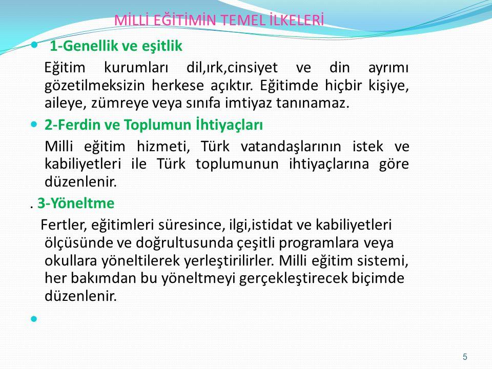 MİLLİ EĞİTİMİN TEMEL İLKELERİ 4-Eğitim Hakkı Temel eğitim görmek her Türk vatandaşının hakkıdır.
