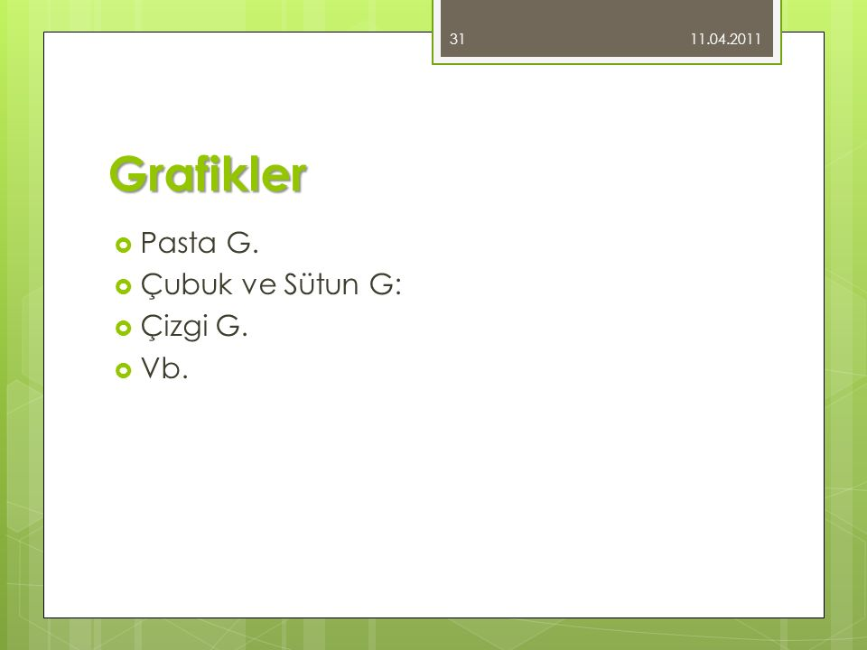 Grafikler  Pasta G.  Çubuk ve Sütun G:  Çizgi G.  Vb. 11.04.2011 31