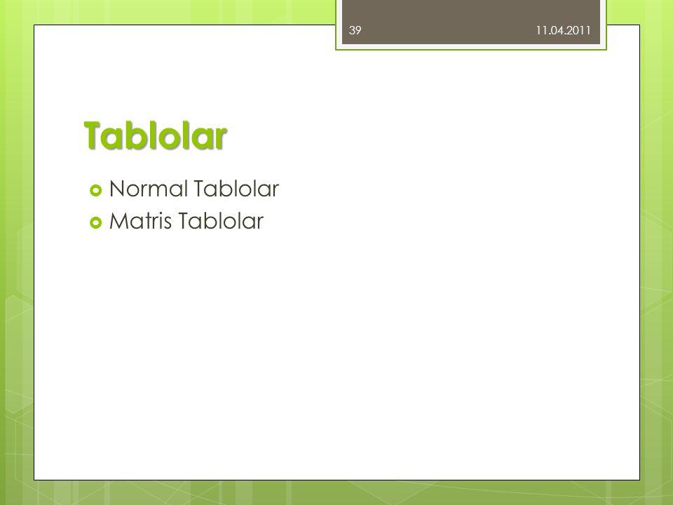 Tablolar  Normal Tablolar  Matris Tablolar 11.04.2011 39