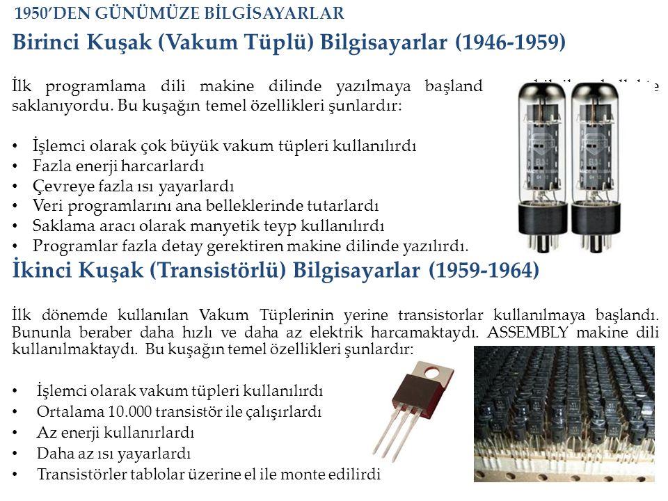 Birinci Kuşak (Vakum Tüplü) Bilgisayarlar (1946-1959) İlk programlama dili makine dilinde yazılmaya başlandı ve bilgiler bellekte saklanıyordu. Bu kuş