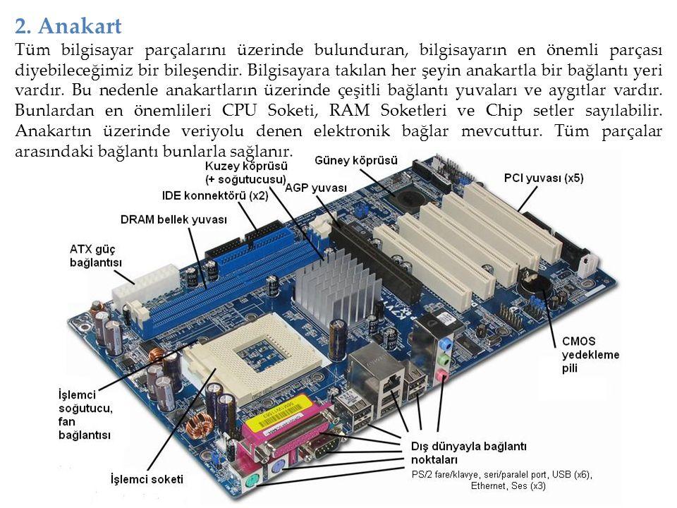 2. Anakart Tüm bilgisayar parçalarını üzerinde bulunduran, bilgisayarın en önemli parçası diyebileceğimiz bir bileşendir. Bilgisayara takılan her şeyi