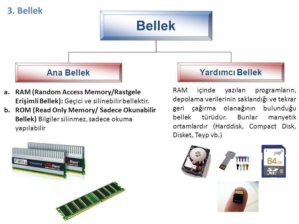 Bellek Ana Bellek Yardımcı Bellek 3. Bellek a.RAM (Random Access Memory/Rastgele Erişimli Bellek): Geçici ve silinebilir bellektir. b.ROM (Read Only M