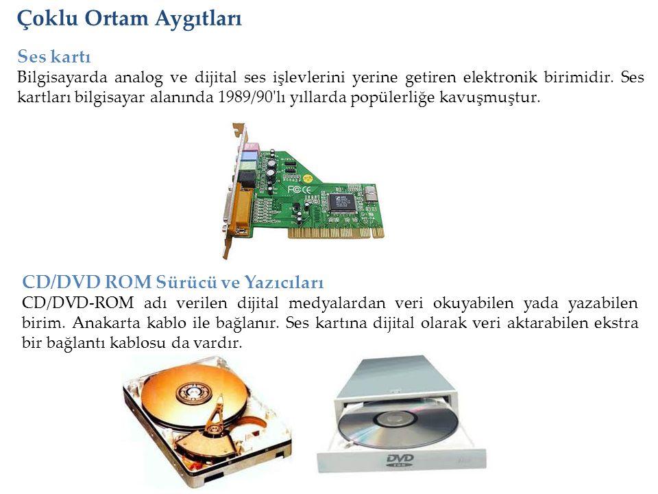 Çoklu Ortam Aygıtları Ses kartı Bilgisayarda analog ve dijital ses işlevlerini yerine getiren elektronik birimidir. Ses kartları bilgisayar alanında 1