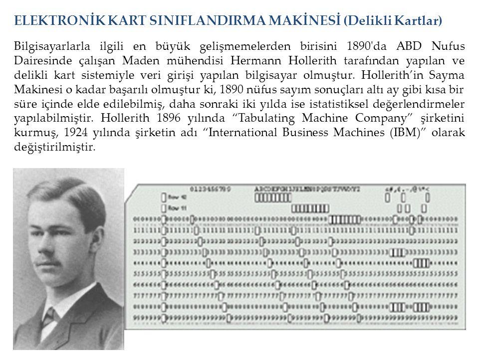 Bilgisayarlarla ilgili en büyük gelişmemelerden birisini 1890'da ABD Nufus Dairesinde çalışan Maden mühendisi Hermann Hollerith tarafından yapılan ve