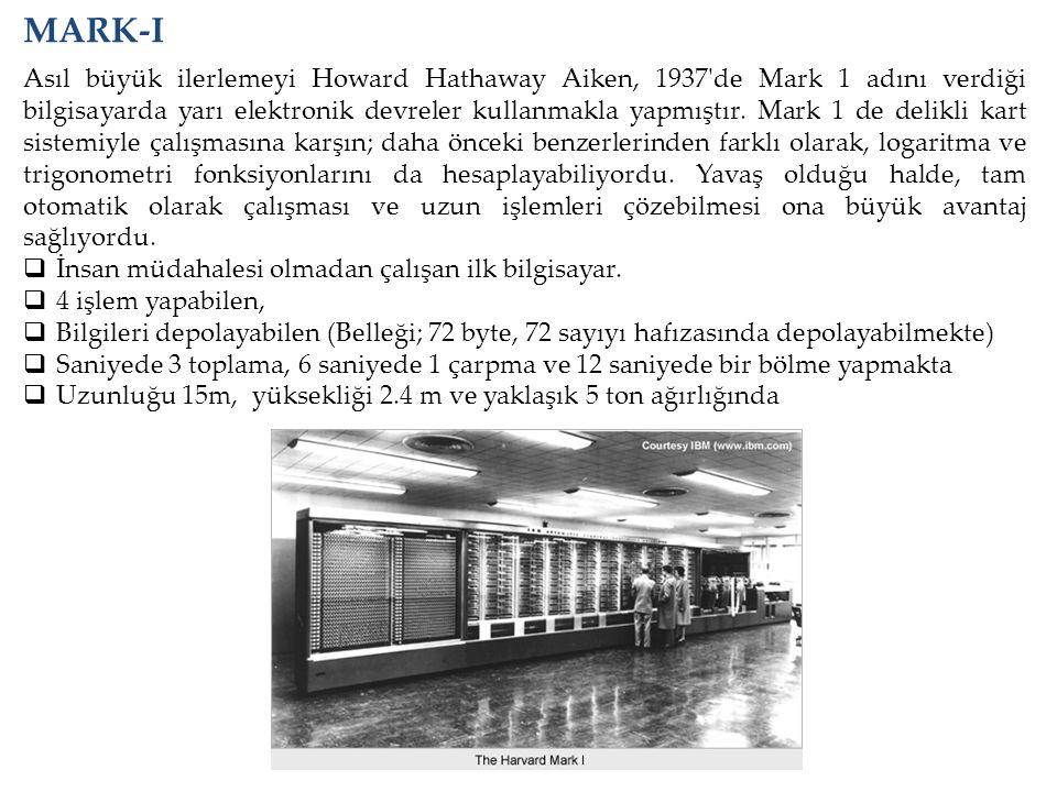 MARK-I Asıl büyük ilerlemeyi Howard Hathaway Aiken, 1937'de Mark 1 adını verdiği bilgisayarda yarı elektronik devreler kullanmakla yapmıştır. Mark 1 d