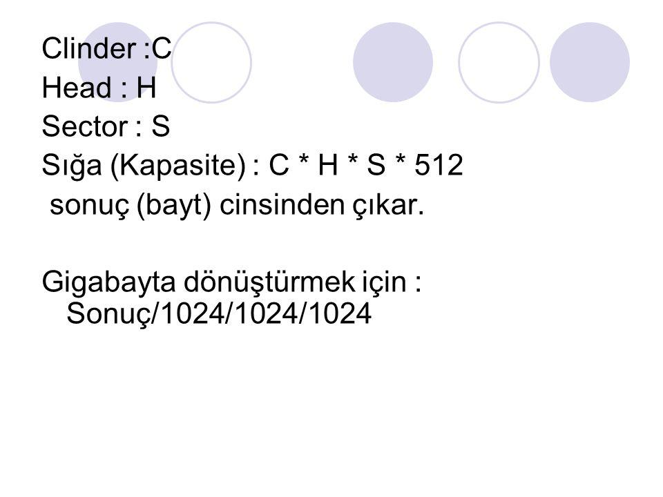 Clinder :C Head : H Sector : S Sığa (Kapasite) : C * H * S * 512 sonuç (bayt) cinsinden çıkar. Gigabayta dönüştürmek için : Sonuç/1024/1024/1024